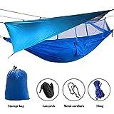 Elevens Outdoor Mosquito Net Hammock with Waterproof Sunshine Tent Rain Fly Tent Tarp (Blue)