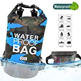 Idefair Waterproof Dry Bag 10L 20L, Floating Backpack with Waist Pouch, Lightweight Roll Top Dry Compression Sack for, Boating, Fishing, Kayaking, Swimming, Rafting, Camping (20L, Blue)
