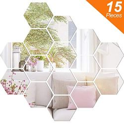 BBTO Mirror Sheets Flexible Non Glass Mirror Plastic Mirror Self Adhesive Tiles Mirror Wall Stickers (15 Pieces, Size 4)