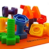 Jumbo Nuts and Bolts Set with Backpack by Skoolzy - 24 pc - Occupational Therapy - Matching Fine Motor Toy for Toddlers Preschoolers - Free Activity Download