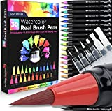 30 Watercolor Brush Pens Combo Pack, 24 Colors 6 Water Brushes, Flexible Real Nylon Brush Tips, for Watercolor Painting Calligraphy Coloring, Beginner or Artist, Portable, Low Mess