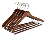 Quality Hangers Wooden Hangers Beautiful Sturdy Suit Curved Hangers Great for Travelers Heavy Duty Coat Hanger with Locking Bar Gold Hooks (5 Pack)