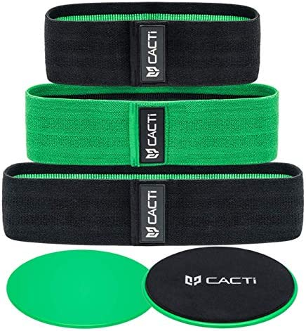 Fabric Resistance Bands & Core Sliders Exercise Set - 3 Booty Bands & 2 Strength Slides for Legs, Butt, Hips, Glutes, Abs, Shoulders & Arms - Non Slip & Non-Rolling (Bands & Sliders) 1