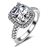 Women fashion 2ct Princess Cut Cubic Zirconia Wedding Halo Solitaire Engagement Bridal Ring Jewelry (6)