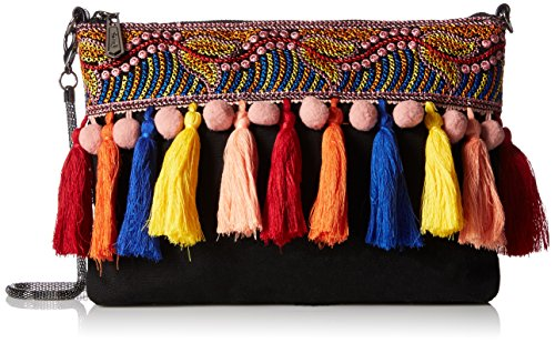 51A3DHC1F9L Pouch-style cross-body with multi-color pom-pom and tassel trim Snake chain strap Pockets: 2 interior slip, 1 interior zip