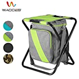 Wacces Multi-Purpose Backpack Chair/ Stool with Cooler Bag for Hiking/Fishing/Camping/Picnicking Without Backrest - Gray-Green