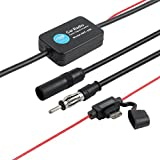 AUTOUTLET Universal Auto Car Antenna Radio Signal AMP Amplifier FM Booster Strengthen 25db 12V with Adhesive Paper & Lock Quick Splice