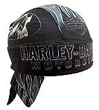 HARLEY-DAVIDSON Men's Engulfed Flaming Skull Head Wrap, Moisture Wicking HW15290 Black
