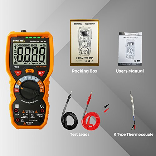 PM19 6000 Counts TRUE RMS Digital Multimeter, Auto-Range DDM with  thermocouple, AC Voltage Tester, Voltage Alert, Amp/Ohm/Cap Multi  Tester/Diode and