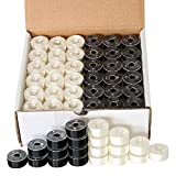 144 Black & White Pre-Wound Bobbins for Brother Embroidery Machines Compatible with PE-700, PE700II, PE-750D, PE-770, PE-780D, Innovis 1000, Innovis 1200, Innovis 1250D and New Babylock Ellure, Emore