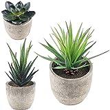 Supla 3 Pcs Assorted Decorative Boxwood Topiaries Artificial Succulent Plants Aloe Cactus with Gray Pots Faux Succulent Plants Fake succulents Artificial Topiary Cactus Plant Potted