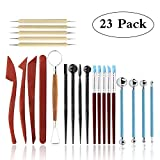 Polymer Clay Tools,23 pcs Modeling Clay Sculpting Tools Kits for Pottery Sculpture, Include Wooden Dotting Tools,Rubber Tip Pens,Ball Stylus Tool,Modeling Tools Pottery Tools,Rosewood Ceramics Tool