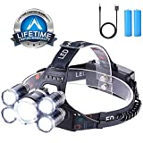 Headlamp 12000 Lumen Ultra Bright CREE LED Work Headlight USB Rechargeable, 4 Modes Waterproof Head Lamp Best Headlamps for Camping Hiking Hunting Outdoors