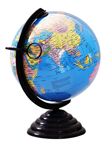 Globus 10 inches (25cm) world globe with magnifying glass- Blue TODAY OFFER ON AMAZON