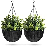 Best Choice Products Set of 2 Patio Round Garden Wicker Rattan Pot Hanging Planters w/Triple-Chain Hanger, Black