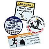 Funny Toolbox Sticker Pack Funny Hard Hat Stickers - Funny Warning Stickers Vinyl Decals for Guys, Electricians, Mechanics Made in USA (4pk)