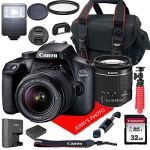 Canon EOS 4000D DSLR Camera w/Canon EF-S 18-55mm F/3.5-5.6 III Zoom Lens + Case + 32GB SD Card (15pc Bundle)