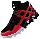 JOOMRA Boys Fashion Sneakers Travel Leather Comfortable Blade Autumn High Top Young Man Athletic Daily Walking Shoes Red Size 6