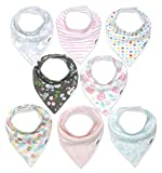 Baby Bandana Drool Bibs for Girls, 8-Pack Organic Absorbent Drooling & Teething Bib Set by Matimati'Rosy Mint'