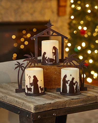 The Lakeside Collection Holiday Nativity Candleholders with LED Candle Bulbs - Set of 3