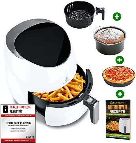 NUTRI-FRYER 5.0L Heißluftfritteuse XXL [2000W] Power Airfryer Groß – Filter Cool Touch, Digital Touchscreen Timer | Pommes Fritteuse ohne Fett & Öl | Pizzablech + Barrel + Rezeptbuch