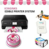 Edible Cake Printer Bundle Package - Canon Edible Image Printer, Edible Ink Cartridges, Frosting Sheets, Edible Cleaning Kit, Free Image Designing Lifetime, Edible Printer for Cakes by Icinginks