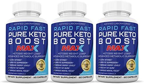 Rapid Fast Pure Keto Boost Max 1200MG Keto Pills Advanced BHB Ketogenic Supplement Exogenous Ketones Ketosis for Men Women 60 Capsules 3 Bottles) 90 Day Supply 3