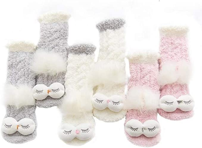 3 Pairs Cozy Socks, Super Soft Non-Slip Indoor Women Slippers, Comfy Home Fuzzy Sock, Cute 3D Animal Design, 3 Colors, Holiday Season Socks Set.