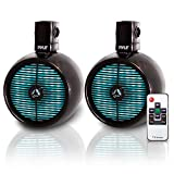 Pyle Marine Speakers - 8 Inch Waterproof IP44 Rated Wakeboard Tower and Weather Resistant Outdoor Audio Stereo Sound System with Built-in LED Lights - 1 Pair in Black (PLMRWB858LE)