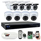 GW Security 8 Channel HD 2592TVL Outdoor/Indoor 5MP 1920P H.265 CCTV Video Security Camera System with Pre-Installed 2TB HD, Motion Email Alert, Smartphone& PC Easy Remote Access (White)