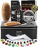 PREMIUM Metal Box Beard Kit for Men Beard Care Growth Grooming & Trimming - Beard Oil Conditioner, Beard Glitter Lights, Christmas Ornaments, Balm Wax, Brush, Comb, Scissors, XmasGifts for HimDad