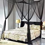 Goplus 4 Corner Post Bed Canopy Mosquito Net Full Queen King Size Netting Bedding (Black)