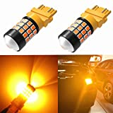 Alla Lighting Super Bright LED 3157 Bulb High Power 2835-SMD 4157 3457 3156 3057 3157 LED Bulb for Turn Signal Blinker Light Bulbs Replacement- Compatible Standard & CK Type, Amber Yellow (Set of 2)