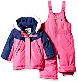 OshKosh B'Gosh Baby Girls Ski Jacket and Snowbib Snowsuit Outfit Set, Indigo Blue/Dynamite Pink, 24M