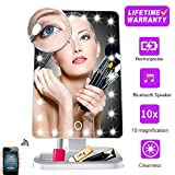 Makeup Vanity Mirror with Bluetooth,Rechargeable Touch Dimmable Professional Mirror with 20 LED Lights,180 Degree Rotation,Detachable 10x Magnifying and Countertop Light up Cosmetic Mirror for Women
