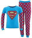 Intimo Big Girls' Supergirl Thermal Logo 2 Piece Set Girls