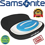 Samsonite SA6020 -  Extra Firm & Thick Seat Cushion with Cooling Gel [Cooling effect is subjective, and varies by personal sensitivity] - Premium Memory Foam - Fits Most Seats - Non-Slip Bottom