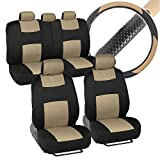 Interior Savers - Polyester Cloth Car Seat Covers & Sport Grip Steering Wheel Cover (Synthetic Leather) for Auto (Black & Beige)