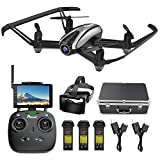 Potensic Drone with Camera, FPV RC Quadcopter 720P HD Live Vide with 5 Inch Screen Monitor, Headless Mode & Altitude Hold Function -VR Goggles Equipped (Gray)
