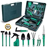 NASUM 10 Pieces Garden Tools Set - Gardening Gifts Tool Set with Trowel Pruner, Rakes, Shovels, Secateurs, Weeding Knife and more, Vegetable Herb Garden Hand Tools, Gifts for Women and Man