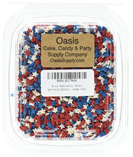Oasis Supply 8-Ounce Patriotic Stars Sprinkle Quins, Large