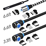 TOPK USB Magnetic Cable,Micro USB and Type C 3in1, 90 Degree Right Angle,Nylon Braided Cord,360 Magnetic Charging Cable with Led Light,(3-Pack,3.3ft/6.6ft/6.6ft) Cell Phone Charger Cable for Android