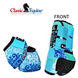 Product review for LARGE BLUE SCROLL CLASSIC EQUINE FRONT SPORTS + NO TURN BELL BOOTS LEGACY HORSE