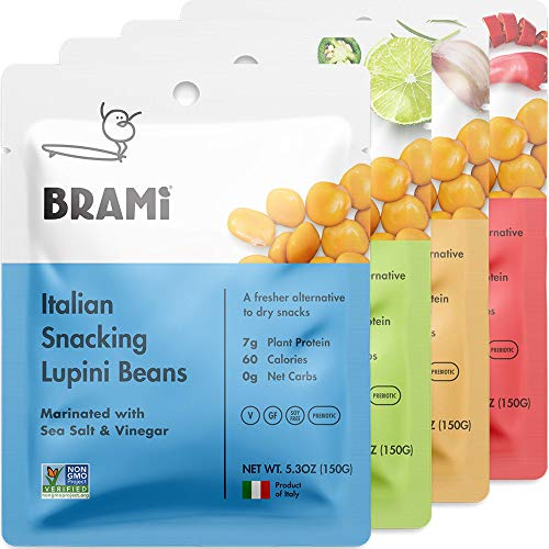 BRAMI Lupini Beans Snack, Variety Pack | 7g Plant Protein, 0g Net Carbs | Vegan, Vegetarian, Keto, Mediterranean Diet | 5.3 Ounce (4 Count)