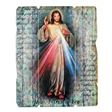 9' Divine Mercy Wooden Canvas Plaque | I Trust in You Inscribed | Perfect Housewarming Gift | Christian Home Goods