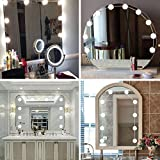 10 LEDs DIY Dimmable Vanity Mirror Lights Decoration Kit Bulbs for Makeup Hollywood Mirror (White)