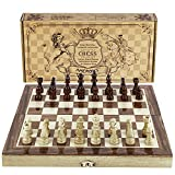 Amerous Chess Set, 12'x12' Folding Wooden Standard Travel International Chess Game Board Set with Magnetic Crafted Pieces