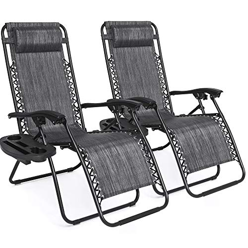 Best Choice Products Set of 2 Adjustable Zero Gravity Lounge Chair Recliners for Patio, Pool w/ Cup Holder Trays, Pillows - Gray