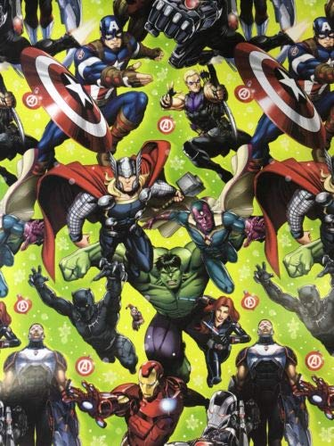 Marvels Green Theme Gift Wrap Avengers - Wrapping Paper 20 sq ft. 1 Roll