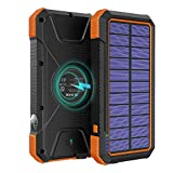 BLAVOR Solar Charger Power Bank 18W, QC 3.0 Portable Wireless Charger 10W/7.5W/5W with 4 Outputs & Dual Inputs, 20000mAh External Battery Pack IPX5 Waterproof with Flashlight & Compass (Orange)